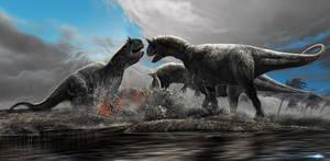 Carnotaurus feasting by damir-g-martin
