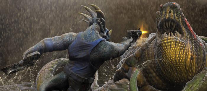 Stiks fighting Turtasaurus