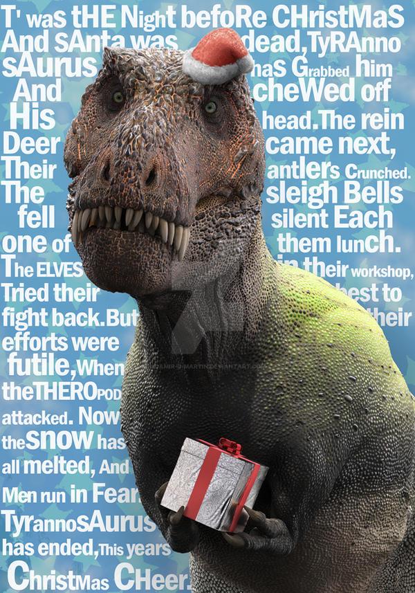 Christmasaurus Rex greeting card by damir-g-martin