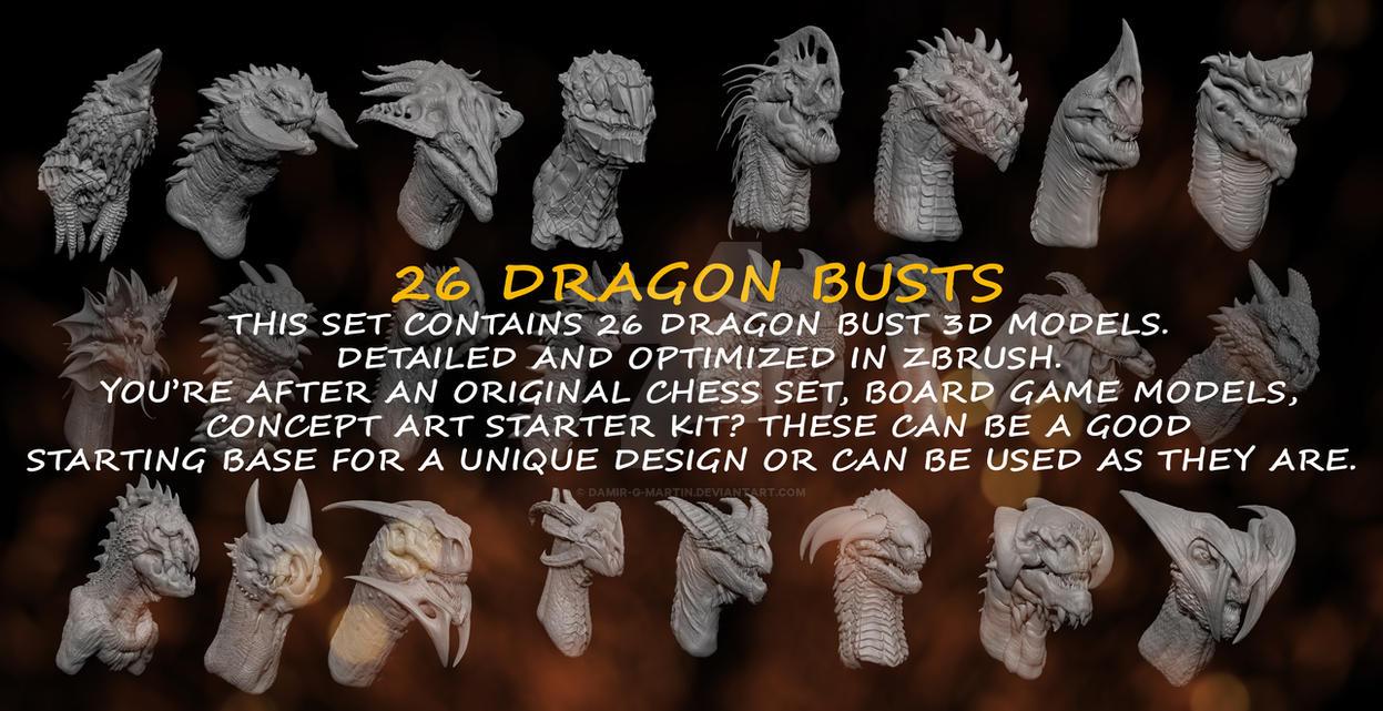 Dragon Busts 3d Models by damir-g-martin