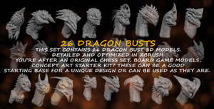 Dragon Busts 3d Models