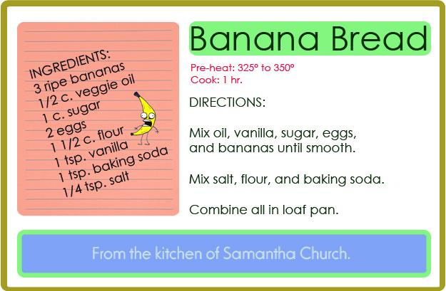 banana bread recipe card - photo #1