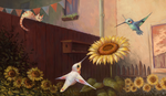 Hummingbirds at the Sunflower by Himmis