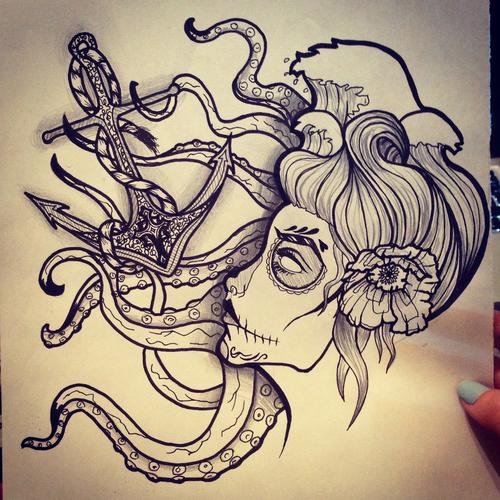 day of the dead ocean tattoo design by maddisonellie on deviantart. Black Bedroom Furniture Sets. Home Design Ideas