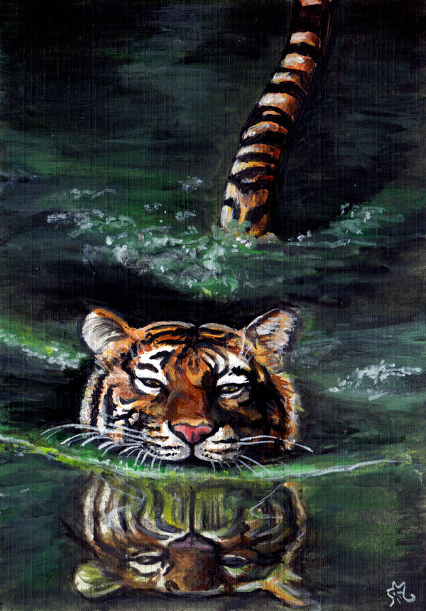 Swimming tiger by LenaZLair