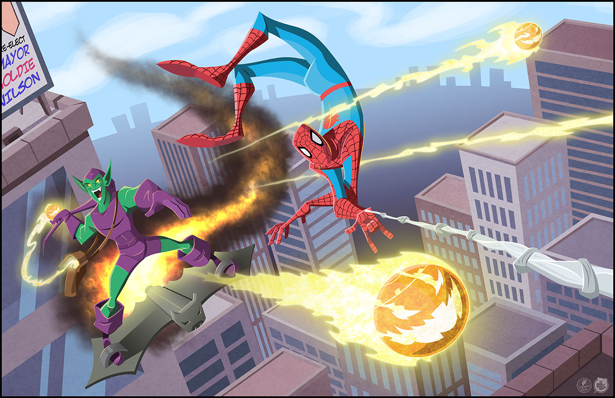 Spider-man and the Green Goblin by AndrewJHarmon