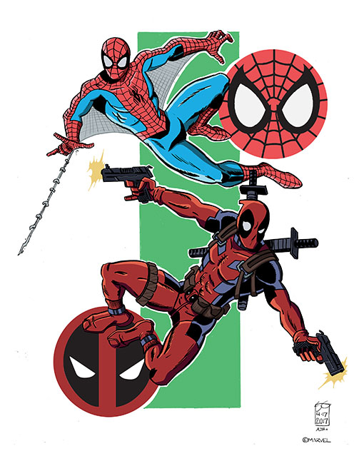 Spider-man and Deadpool by AndrewJHarmon