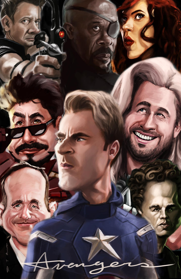 Avengers caricature poster by DevonneAmos