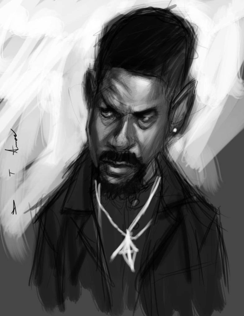 Denzel Washington sketch by DevonneAmos