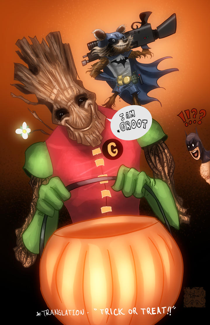 Rocket and Groot Trick or Treating by DevonneAmos