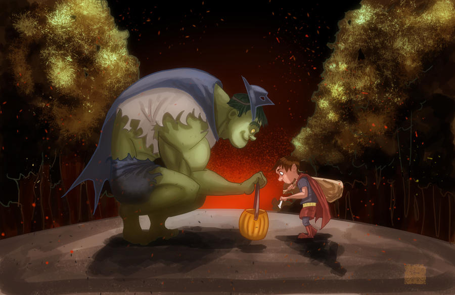 The Hulk goes Trick or Treating by DevonneAmos