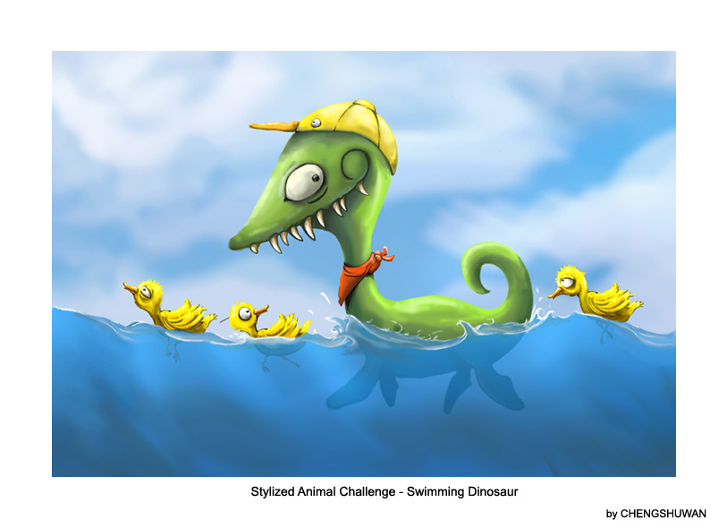 Stylized Animal Challenge - Dec 2007 - Swimming Dinosaur - VOTING
