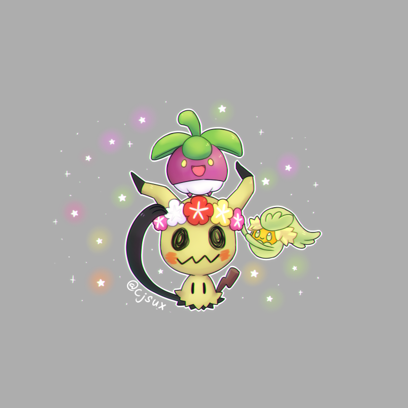 bounsweet, comfey and mimikyu by CJsux