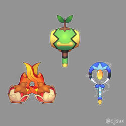 Turtwig Mallet, Chimchar Claws or Piplup Wand? by CJsux