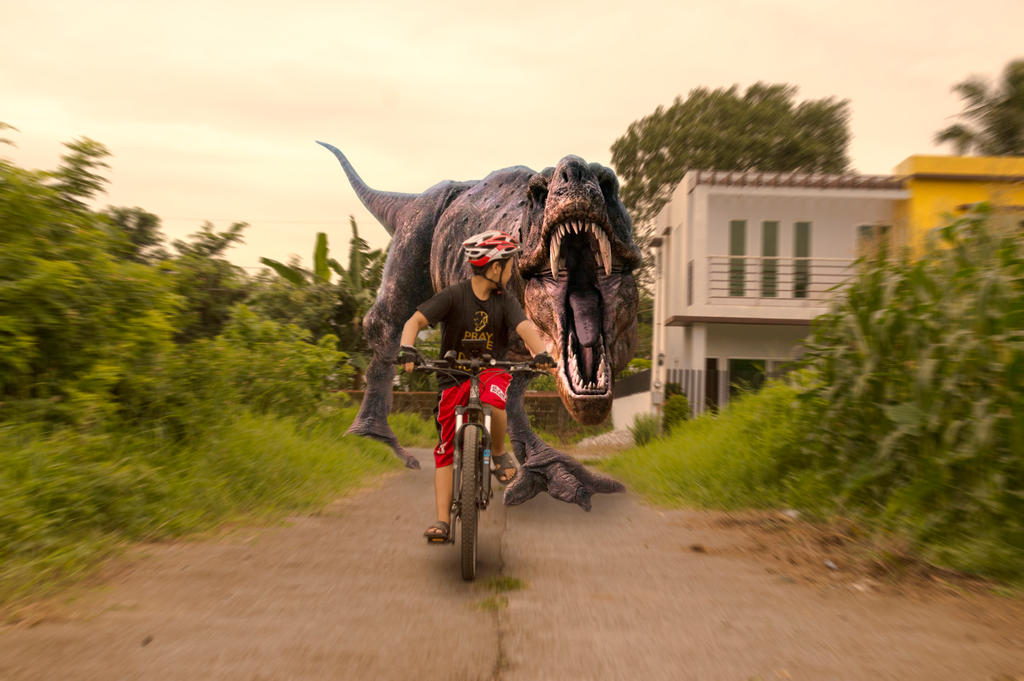 Biker T-Rex Chase by oxygenocide