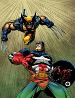 Wolverine Vs. Cap America by psychoheat