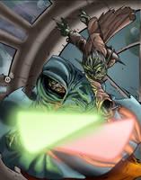 Yoda Vs. Sithious by psychoheat