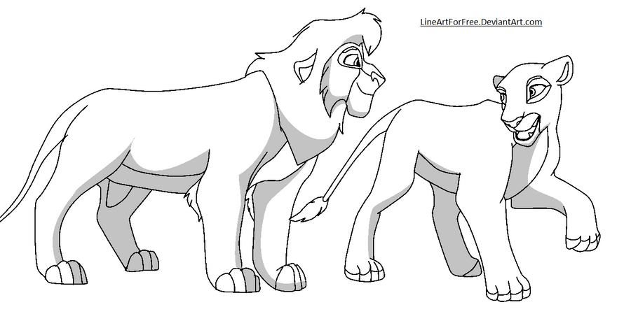 Kovu and kiara base by lineartforfree on deviantart for Kovu coloring pages