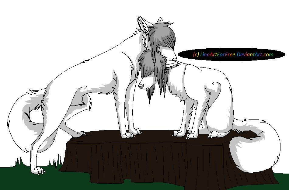 Line Art Couple : Scene wolf couple lineart by lineartforfree on deviantart