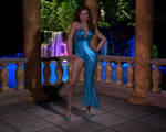 Sexy Blue Gown Outdoor
