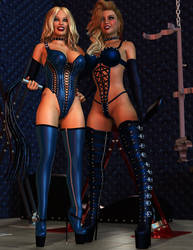Charis and Heather - Blue Fetish by 007Fanatic