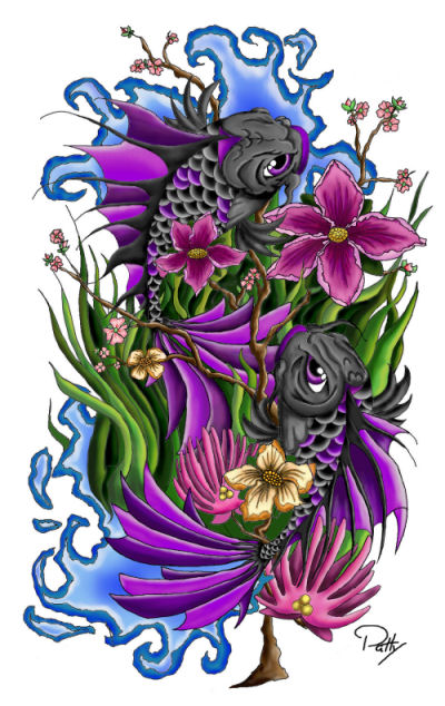 Double koi fish finished by pennywise3368 on deviantart for Purple koi fish