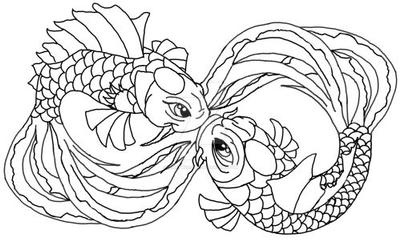 Kissing koi outline by pennywise3368 on deviantart for Koi fish outline