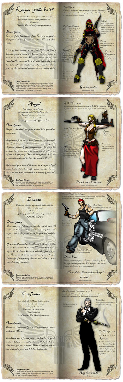 Character pages sample by Dalilean