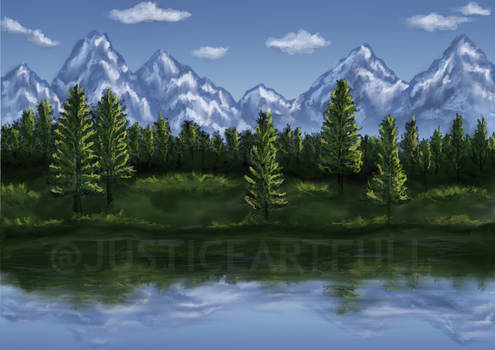 Lake, Trees and Mountains Landscape