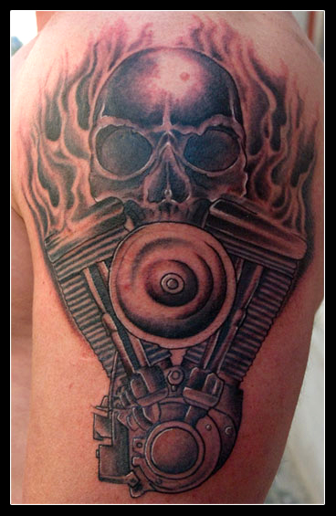 V8 engine skull tattoo v8 free engine image for user for Harley skull tattoos