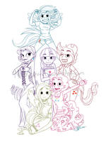 --My Little Pony-Humans-Lines-- by NichelleLavin