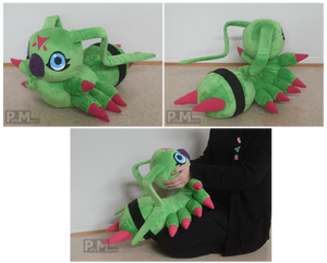 Real-life sized Wormmon plushie
