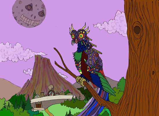 Majora Owl Overlooking Clock Town (Colored)