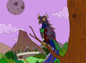 Majora Owl Overlooking Clock Town (Colored)