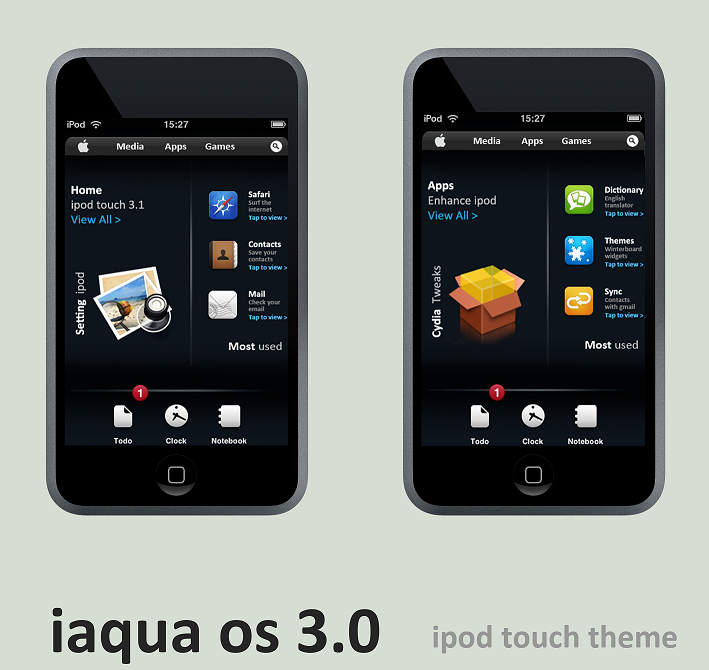 iaqua OS 3.0 ipod touch theme by 6mik-design