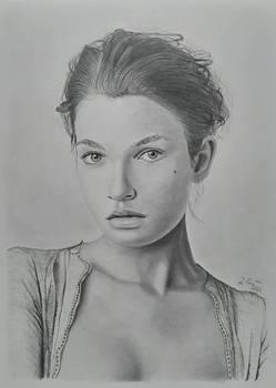 Graphite pencil female portrait
