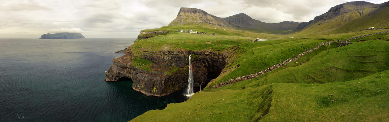 Faroe Island - Gasadalur panoramic landscape by ZonWernor