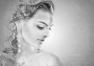 Monochrome portrait of Pretty Woman by MilosCreativeArt