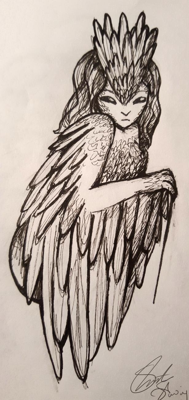 Harpy Line Art by SammieT83