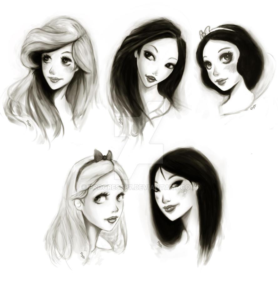 how to draw disney princesses faces