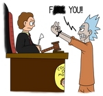 Defendant Rick and Judge Morty