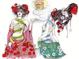 Ghost-Demon Geisha Girls by bluealaris