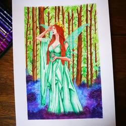 Green Forest Fairy - Handmade Illustration