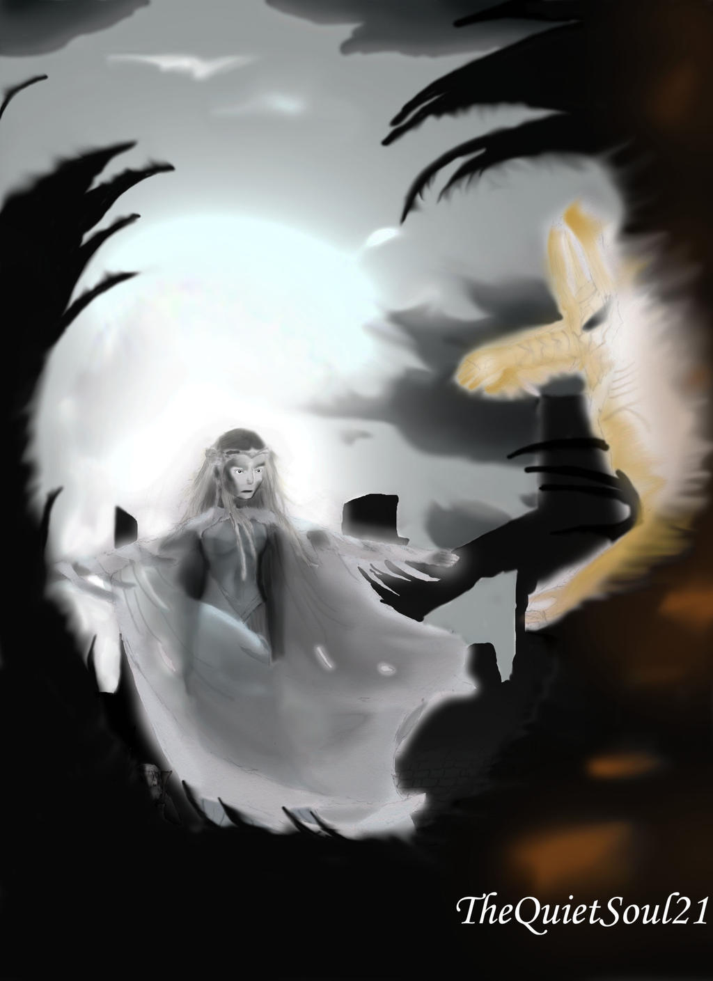galadriel vs sauron by thequietsoul21 on deviantart