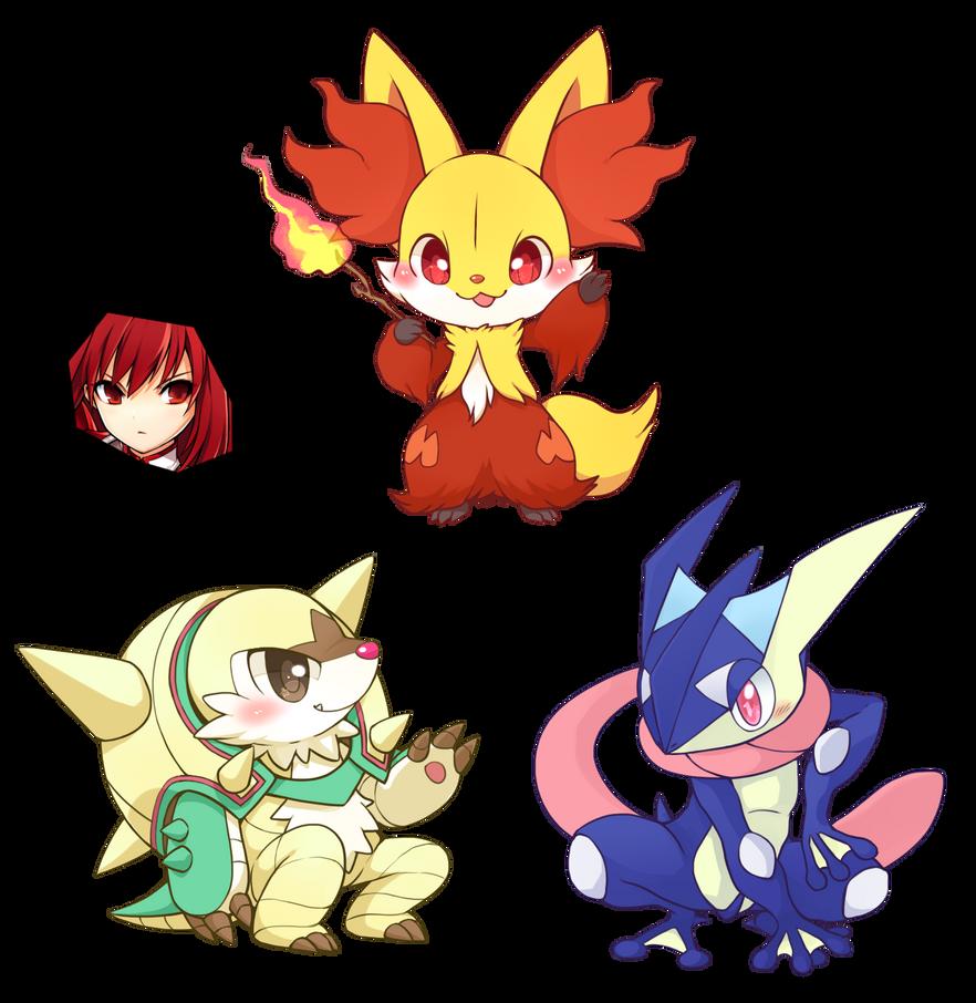 Renders Pokémon & Vocaloid Pokemon_xy_starters_final_evolution_chibi_render_by_oneexisting-d6r04xd