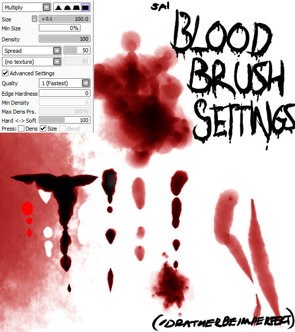 Paint Tool SAI: Blood Brush Settings *UPDATED!* by