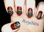 Polish Revisited: Black Crackle Over Rainbows Left