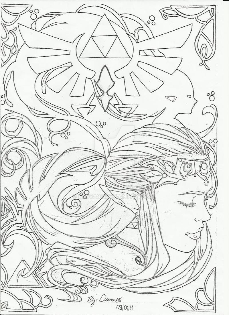 Line Art Zelda : Zelda lineart version by dessa on deviantart