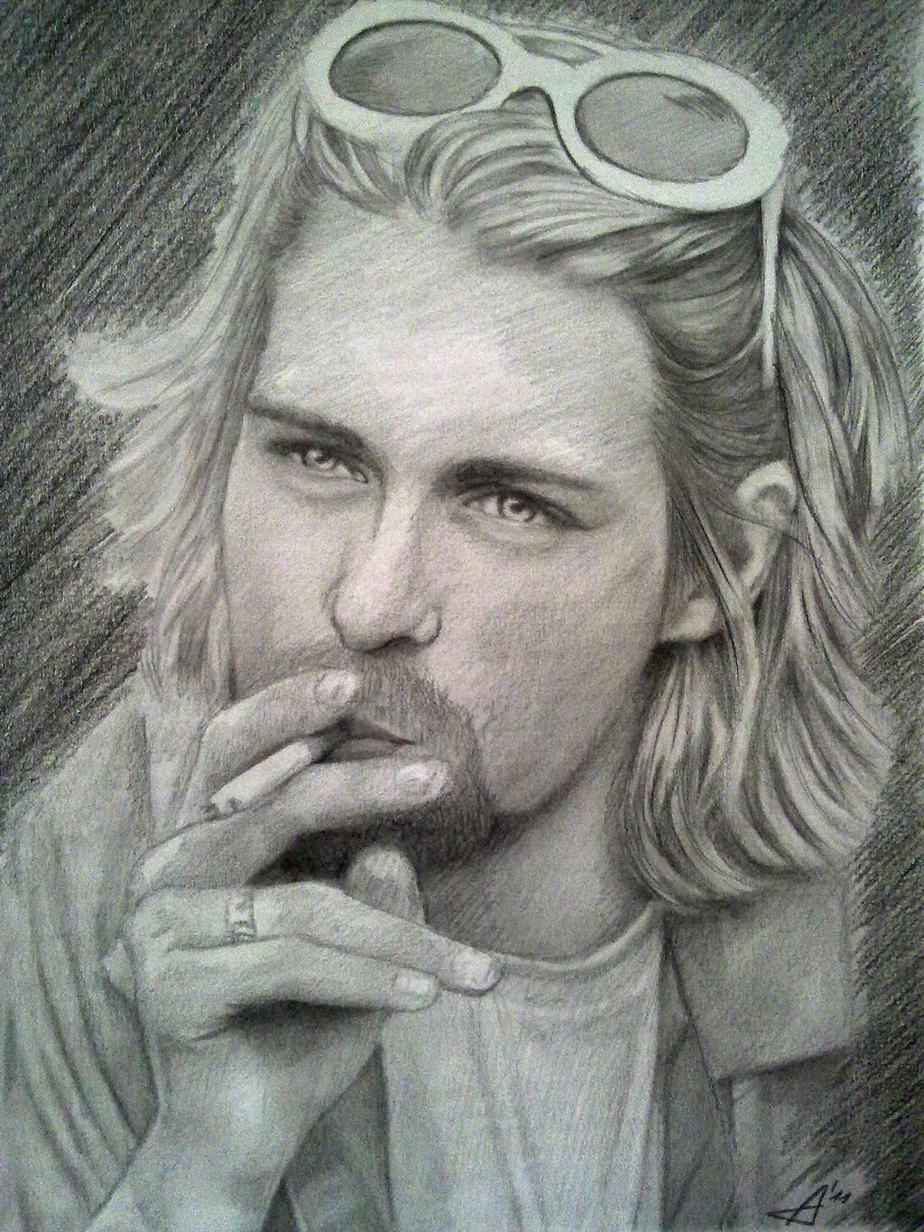 Kurt Cobain close-up by AdushS