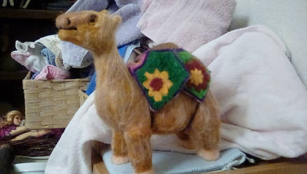 Needle felted Camel with rug